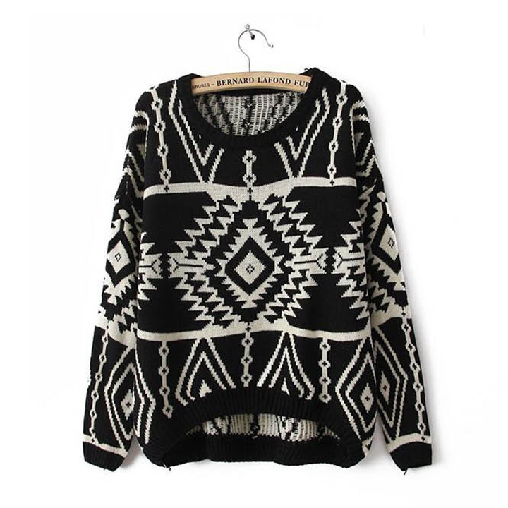 Black Aztec Sweater Knit Knitted Jumper Oversized Oversize Women ...
