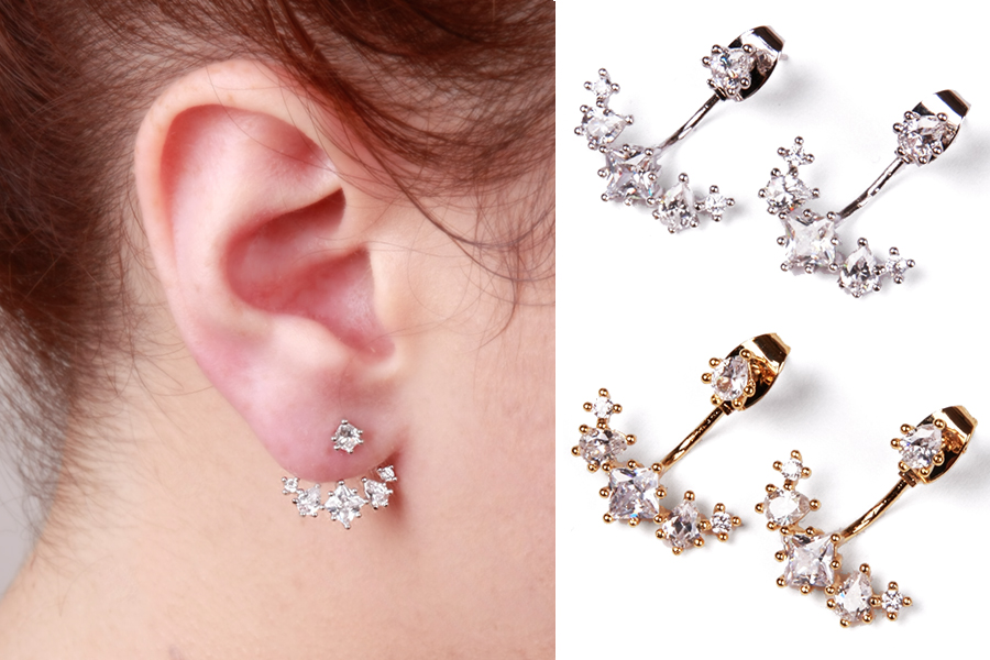 Gold Silver Crystal Ear Jackets Earrings Jacket Double Sided Cubic Zirconia 925 Post Crawler
