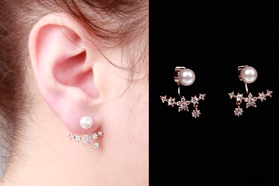 Rose Gold Pearl Flower Ear Jackets Earrings Jacket Double Sided Cubic Zirconia Silver 925